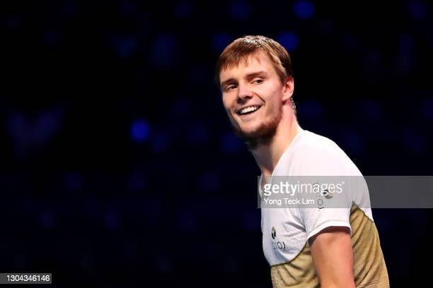 Alexander Bublik of Kazakhstan celebrates match point in his Men's Singles Semifinal match against Radu Albot of Moldova on day six of the Singapore...