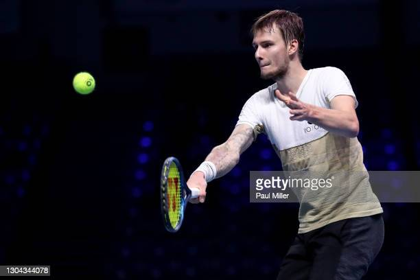 Alexander Bublik of Kazakhstan plays a backhand in his Men's Singles Semifinals match against Radu Albot of Moldova on day six of the Singapore...