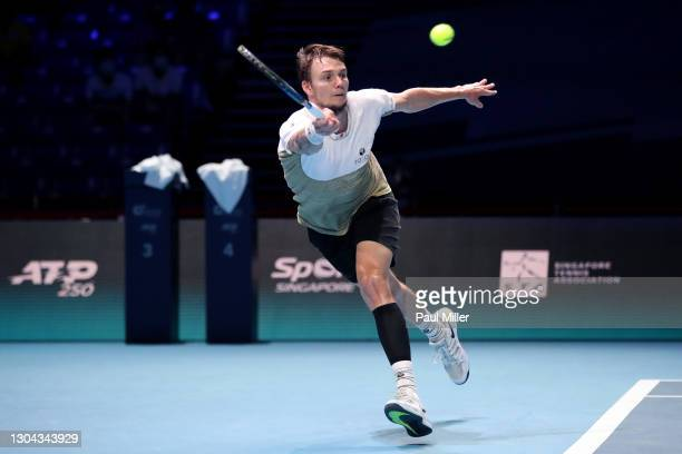 Alexander Bublik of Kazakhstan plays a forehand in his Men's Singles Semifinals match against Radu Albot of Moldova on day six of the Singapore...