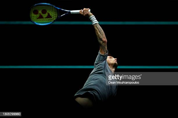Alexander Bublik of Kazakhstan serves in his match against Tommy Paul of USA during Day 4 of the 48th ABN AMRO World Tennis Tournament at Ahoy on...