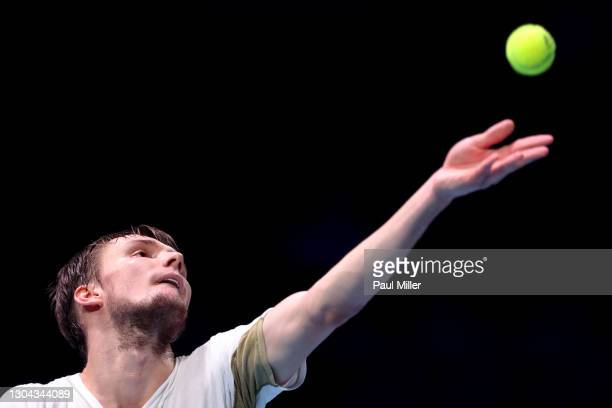 Alexander Bublik of Kazakhstan serves in his Men's Singles Semifinals match against Radu Albot of Moldova on day six of the Singapore Tennis Open at...