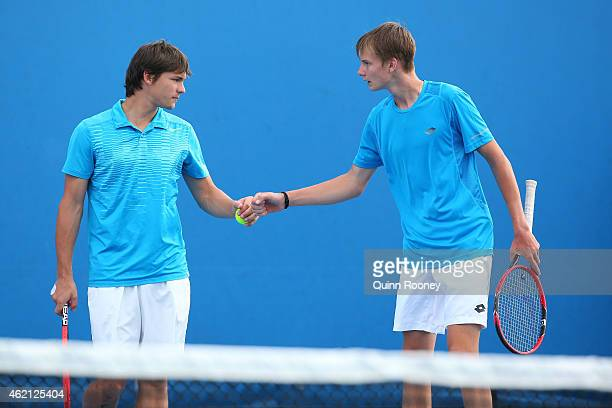 Alexander Bublik of Russia and Boris Pokotilov of Russia in action in their match against Miomir Kecmanovic of Serbia and Michael Mmoh of the United...