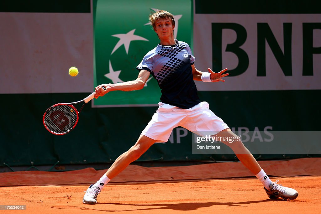 Alexander Bublik of Russia in action during his boys singles match against William Blumberg of the United States on day nine of the 2015 French Open at Roland Garros on June 1, 2015 in Paris, France.