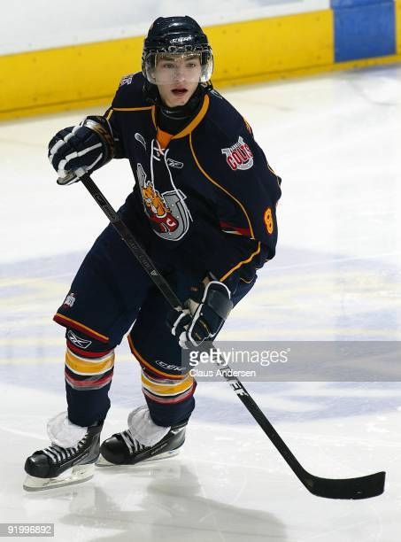 Alexander Burmistrov of the Barrie Colts skates in a game against the London Knights on October 16 2009 at the John Labatt Centre in London Ontario...