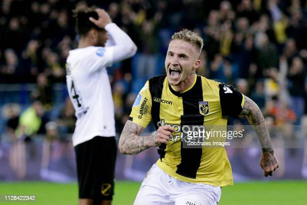 Alexander Buttner of Vitesse celebrates 3-1 during the Dutch Eredivisie match between Vitesse v NAC Breda at the GelreDome on March 2, 2019 in Arnhem...