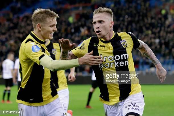Alexander Buttner of Vitesse celebrates 31 with Martin Odegaard of Vitesse during the Dutch Eredivisie match between Vitesse v NAC Breda at the...