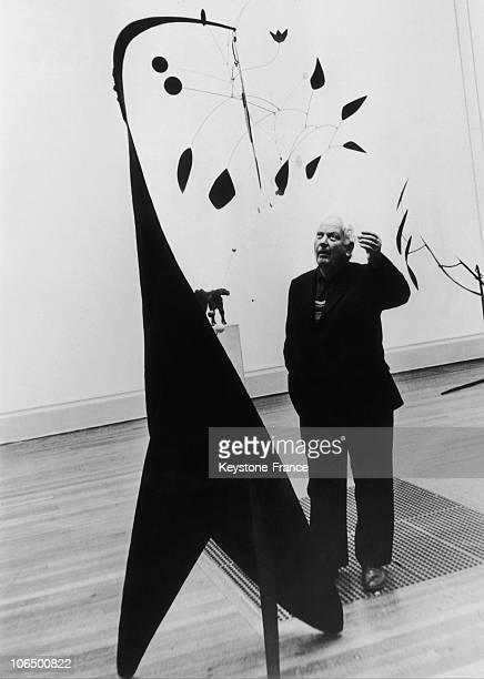 Alexander Calder In Front Of His Work The Red Feather May 10Th 1968