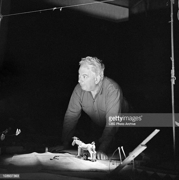 Alexander Calder with his Miniature Circus on CAMERA THREE Image dated September 9 1956