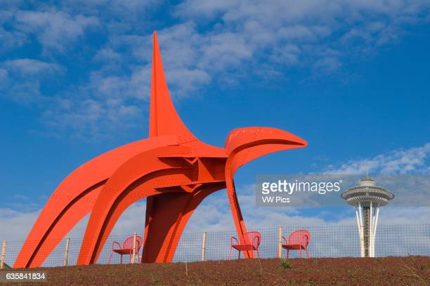 Alexander Calder's 'Eagle' in the Seattle Art Museum's Olympic Sculpture Park with the Space Needle in the distance Seattle Washington