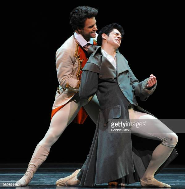 Alexander Campbell as Lescaut and Federico Bonelli as Des Grieux in the Royal Ballet's production of Kenneth MacMillan's Manon at the Royal Opera...
