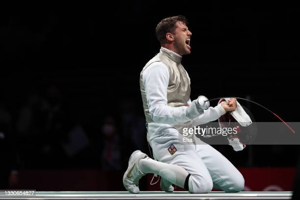 Alexander Choupenitch of Team Czech Republic celebrates after defeating Peter Joppich of Team Germany in Men's Foil Individual third round on day...