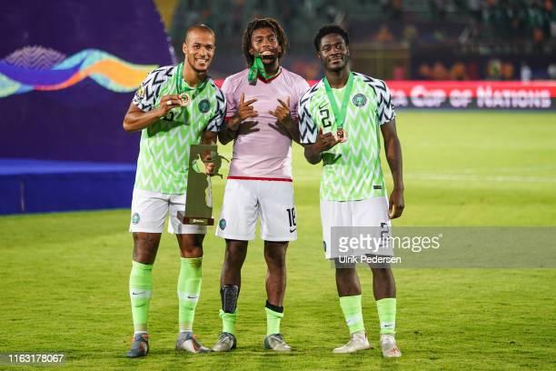 Alexander Chuka Iwobi of Nigeria and Temitayo olufisayo olaoluwa Aina of Nigeria during the 3rd place African Nations Cup match between Tunisia and...