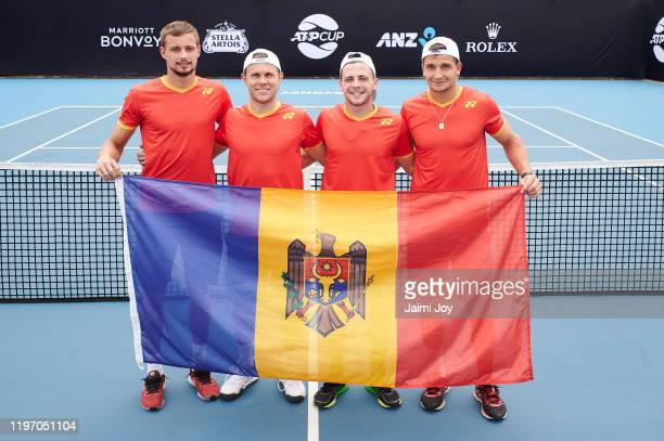 Alexander Cozbinov Radu Albot Egor Matvievici and Dmitrii Baskov of team Moldova pose at ATP Cup media day ahead of the 2020 ATP Cup Group Stage at...