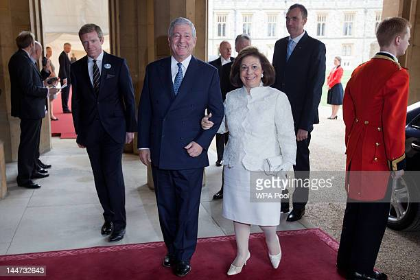 Alexander Crown Prince of Yugoslavia and Katherine Crown Princess of Yugoslavia arrive at a lunch For Sovereign Monarchs in honour of Queen Elizabeth...