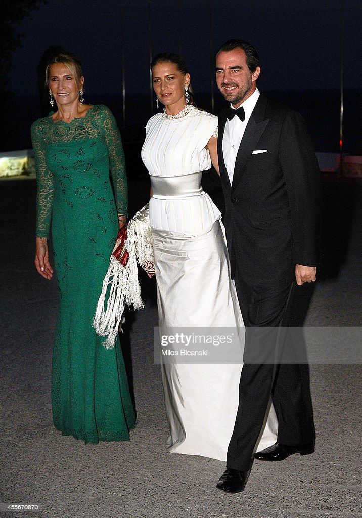 Alexander, Crown Prince of Yugoslavia and Katherine, Crown Princess of Greece arrive for a private dinner organized by former King Constantine II of Greece and former Queen Anne-Marie to celebrate their Golden wedding anniversary at the Yacht Club of Greece in Piraeus, Greece, 18 September 2014.