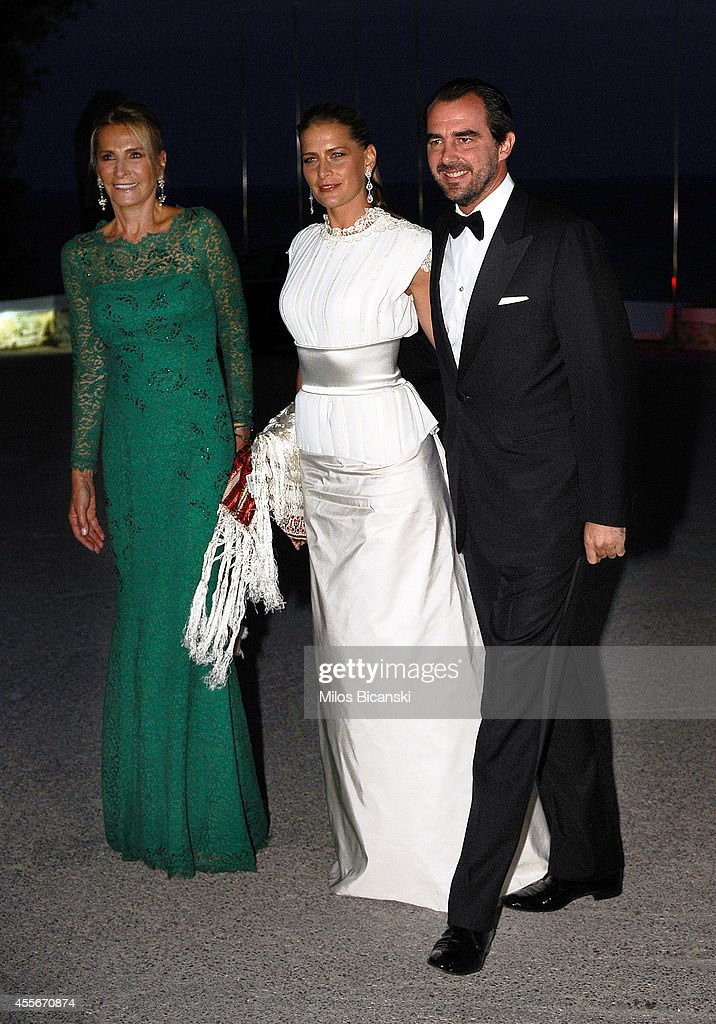 Alexander, Crown Prince of Yugoslavia and Katherine, Crown Princess of Greece arrives for a private dinner organized by former King Constantine II of Greece and former Queen Anne-Marie to celebrate their Golden wedding anniversary at the Yacht Club of Greece in Piraeus, Greece, 18 September 2014.