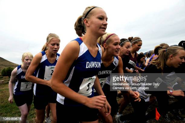 Alexander Dawson seniors Lauren Nygren and Alexa Sander start the varsity race of the St Vrain Cross Country Invitational at Lyons MiddleSenior High...