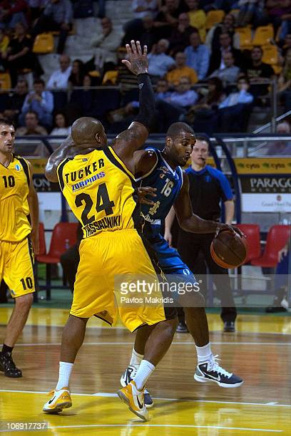 Alexander Demetrius #16 of BC Azovmash in action during the Eurocup Basketball Date 1 game between Aris BSA 2003 vs BC Azovmash at Palais de Sports...