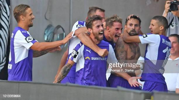 Alexander Dercho Manuel Farrona Pulido Ulrich Taffertshofer Marcos Alvarez and Anas Ouahim of Osnabrueck celebrate during the 3 Liga match between...