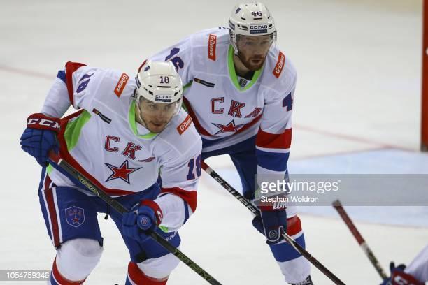 Alexander Dergachyov of St Petersburg and Vladislav Gavrikov of St Petersburg during the Slovan Bratislava v SKA St Petersburg KHL World Games 2018...
