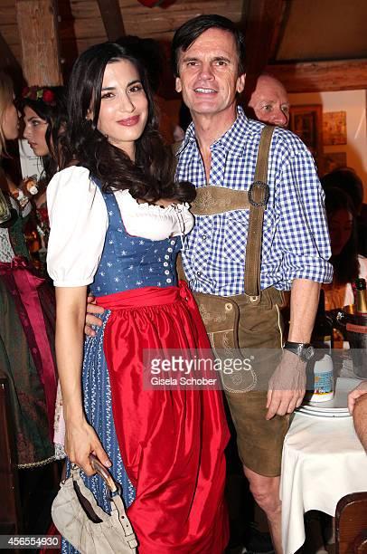Alexander Dibelius and his girlfriend Laila Maria Witt during Oktoberfest at Kaeferzelt/Theresienwiese on October 2 2014 in Munich Germany