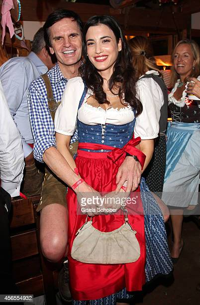 Alexander Dibelius and his girlfriend Laila Maria Witt during Oktoberfest at Kaeferzelt/Theresienwiese on October 2, 2014 in Munich, Germany.