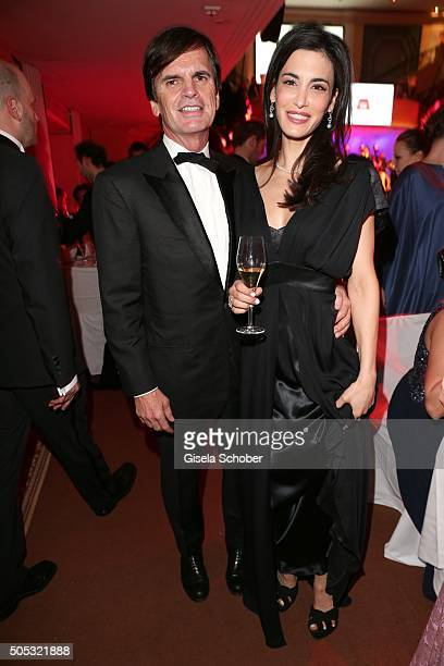 Alexander Dibelius and his wife Laila Maria Witt during the German Film Ball 2016 party at Hotel Bayerischer Hof on January 16, 2016 in Munich,...
