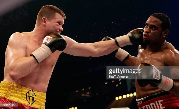 Alexander Dimitrenko of the Ukraine fights Eddie Chambers of the USA during the WBO Eliminator Heavyweight fight during the Universum Champions Night...