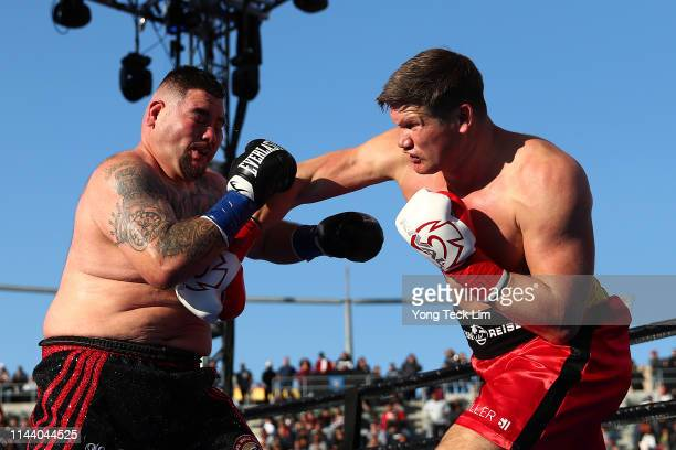 Alexander Dimitrenko punches Andy Ruiz Jr during his heavyweight bout at Dignity Health Sports Park on April 20 2019 in Carson California