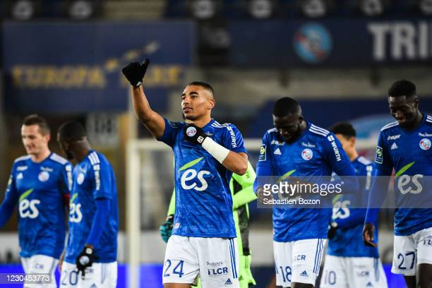 Alexander DJIKU of Strasbourg during the Ligue 1 match between RC Strasbourg and Nimes Olympique at Stade de la Meinau on January 6, 2021 in...