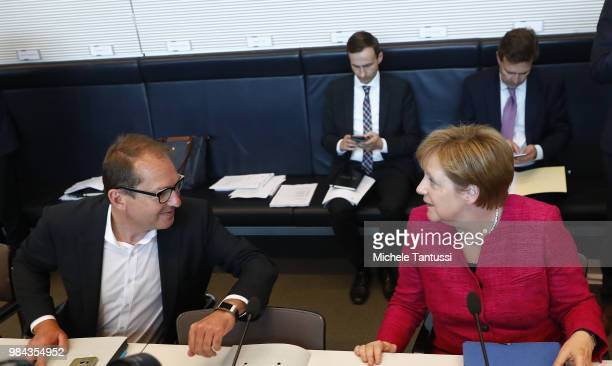 Alexander Dobrind leader of the CSU fraction in Bundestag German Chancellor and leader of the German Christian Democrats Angela Merkel attend a...
