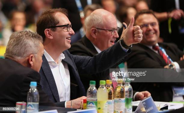 Alexander Dobrindt German Christian Democrats parlametary floor leader gives a thumb up next to Volker Kauder parliamentary floor lader of Christian...
