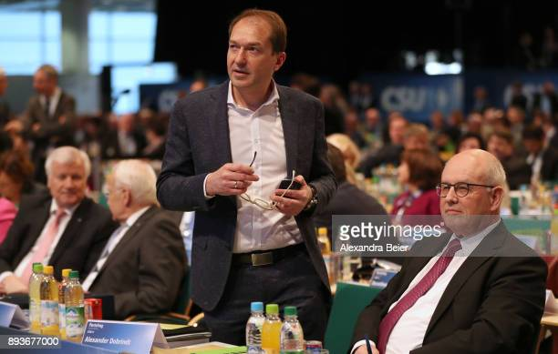 Alexander Dobrindt German Christian Democrats parlametary floor leader is pictured next to Volker Kauder parliamentary floor lader of Christian...