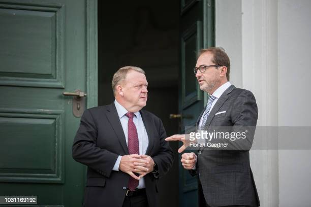 Alexander Dobrindt Parliamentary group leader of the CSU and Lars Lokke Rasmussen Prime Minister of Denmark are pictured at the summer meeting of the...