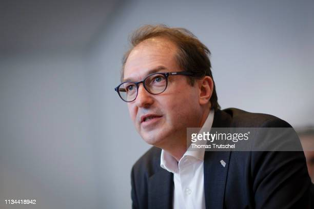 Alexander Dobrindt Parliamentary group leader of the CSU arrives for a meeting of CDU/ CSU Bundestag faction on April 02 2019 in Berlin Germany