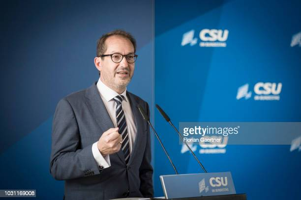 Alexander Dobrindt Parliamentary group leader of the CSU speaks at the summer meeting of the CSU parliamentary group at the German Bundestag on...