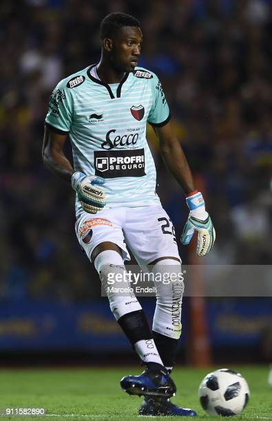 Alexander Dominguez goalkeeper of Colon kicks the ball during a match between Boca Juniors and Colon as part of the Superliga 2017/18 at Alberto J...