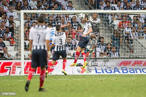 Alexander Dominguez goalkeeper of Monterrey blocks the ball during the 1st round match between Monterrey and Puebla as part of the Torneo Apertura...
