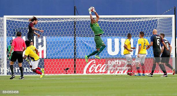Alexander Dominguez of Ecuador blocks a shot against the United States in the first half during an International Friendly match at Toyota Stadium on...