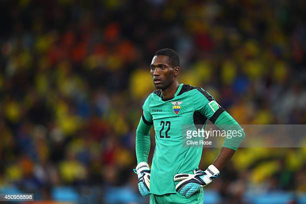 Alexander Dominguez of Ecuador looks on during the 2014 FIFA World Cup Brazil Group E match between Honduras and Ecuador at Arena da Baixada on June...