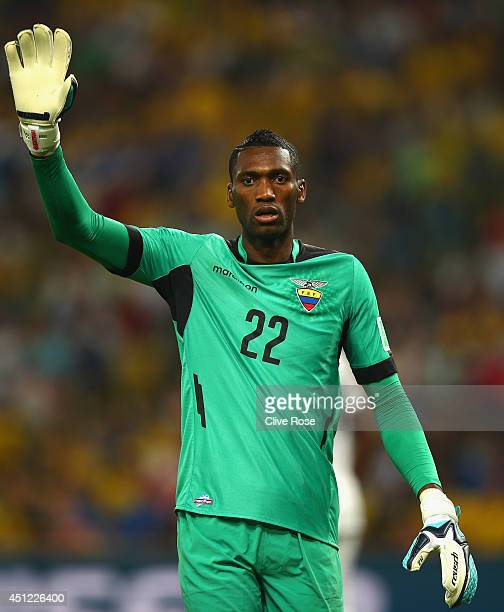 Alexander Dominguez of Ecuador looks on during the 2014 FIFA World Cup Brazil Group E match between Ecuador and France at Maracana on June 25 2014 in...