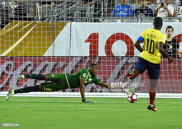 Alexander Dominguez of Ecuador makes a diving save during a group B match between Ecuador and Peru as part of Copa America Centenario US 2016 at...