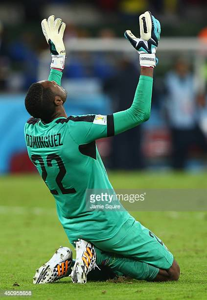 Alexander Dominguez of Ecuador reacts after defeating Honduras 21 during the 2014 FIFA World Cup Brazil Group E match between Honduras and Ecuador at...