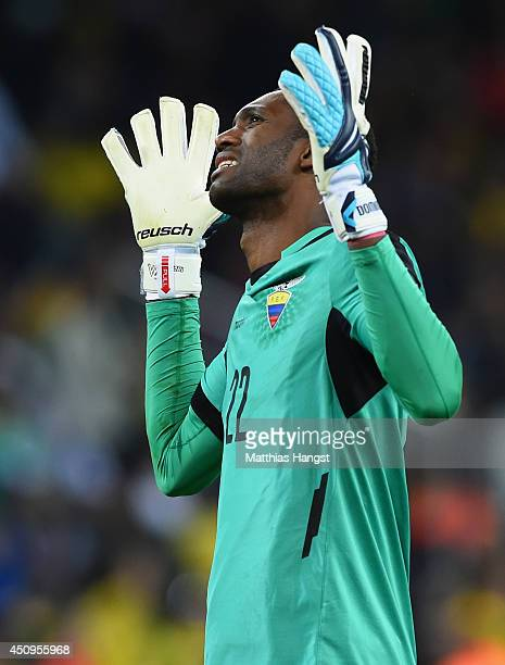 Alexander Dominguez of Ecuador reacts during the 2014 FIFA World Cup Brazil Group E match between Honduras and Ecuador at Arena da Baixada on June 20...
