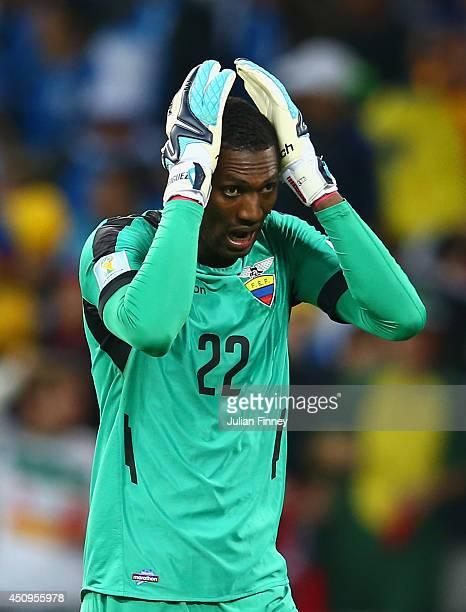 Alexander Dominguez of Ecuador reacts during the 2014 FIFA World Cup Brazil Group E match between Honduras and Ecuador at Arena da Baixada on June 20...