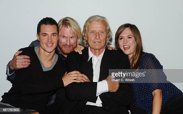 Alexander Dreymon Rutger Hauer Rune Temte and Emily Cox attend a photocall for 'The Last Kingdom' at Charlotte Street Hotel on September 8 2015 in...