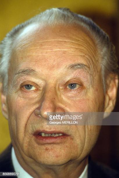 Alexander Dubcek Czech politician and figurehead of the 'Prague Spring' in 1968 visits Paris on March 6 1990 in Paris France