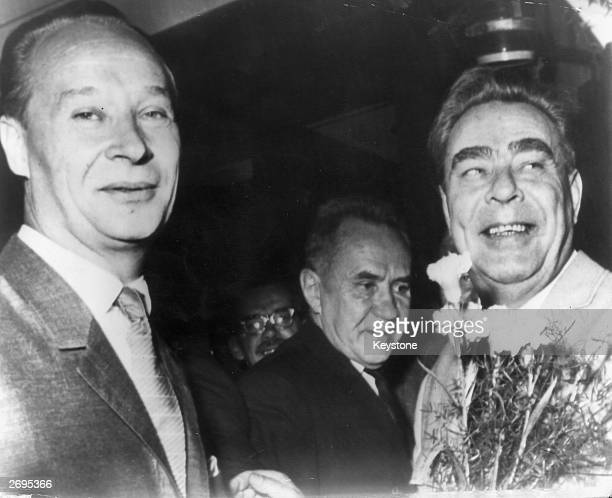 Alexander Dubcek first secretary of the Czechoslovak communist party with Russian Prime Minister Alexei Kosygin and Russian General Secretary Leonid...