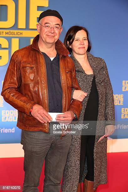 Alexander Duda and his wife during the 'Eddie the Eagle' premiere at Mathaeser Filmpalast on March 20 2016 in Munich Germany