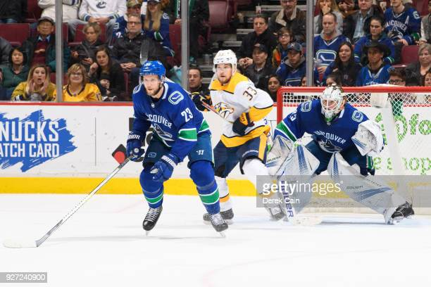 Alexander Edler and Jacob Markstrom of the Vancouver Canucks defend against Viktor Arvidsson of the Nashville Predators during their NHL game at...